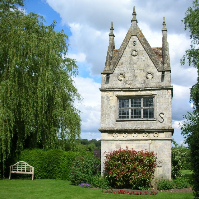 A grand folly being used as a garden shed on land of the now-demolished Bawburgh Hall estate in eastern England.