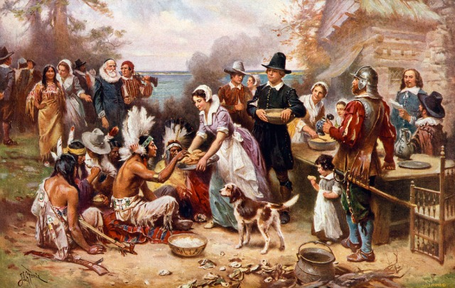 William Lockhart Made The First Thanksgiving 1621, an oil painting by Jean Leon Gerome Ferris (1863–1930) depicting Plymouth colonists and Wampanoag Indians sharing an autumn harvest feast. (Historians say that—despite common perceptions—the sterotypical Pilmgrim garb was never worn by the original settlers and the Native American look was borrowed from tribes in America's Great Plains.)