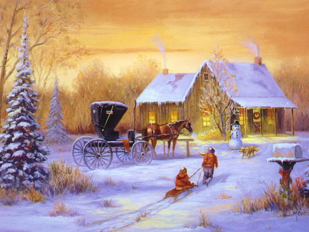 Digital wallpapers classic outdoor christmas scenes Christmas card scenes to paint