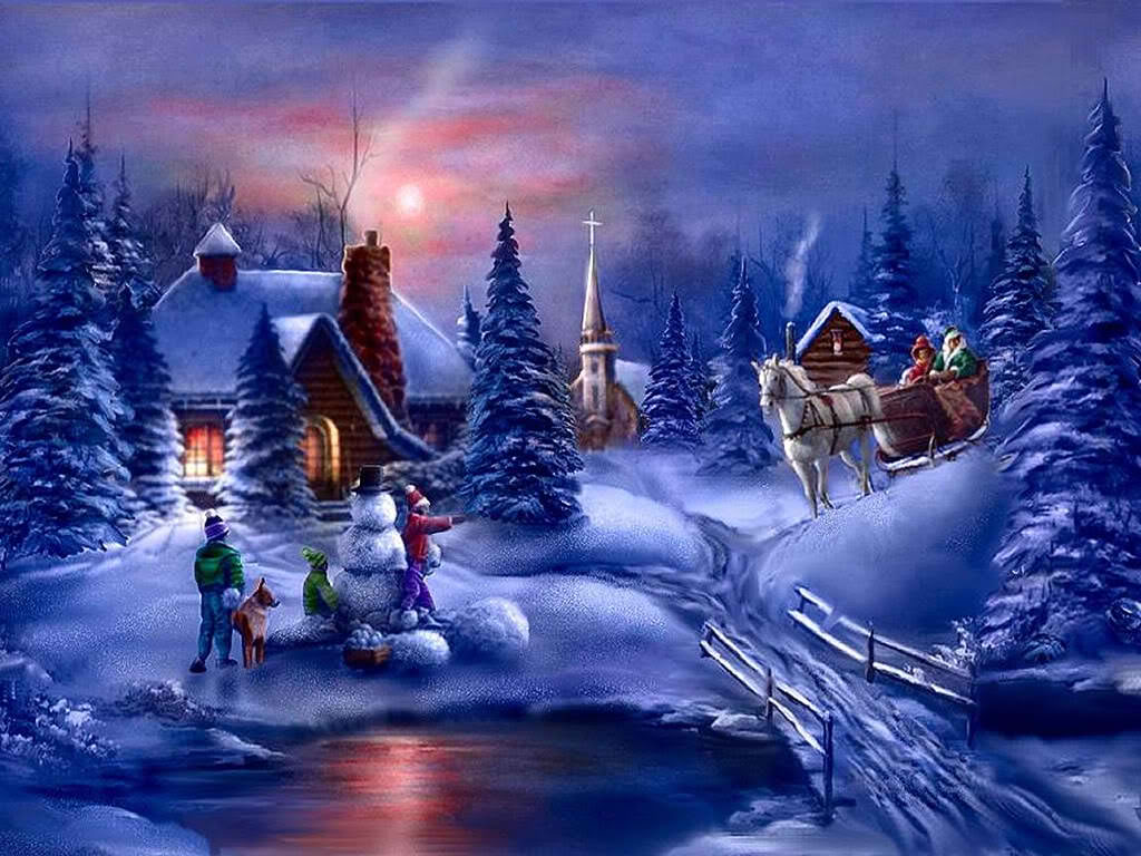 Christmas Scenes Images.Digital Wallpapers Classic Outdoor Christmas Scenes