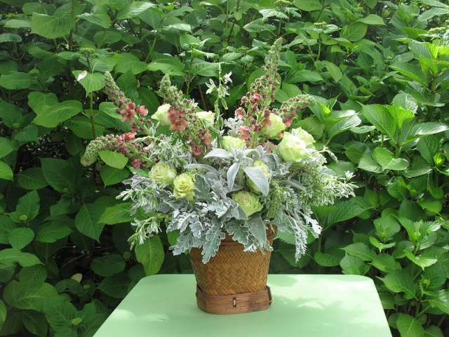 A spring bouquet Prinzing created with dusty miller, lamb's ears, roses, star of Bethlehem, and verbascum. Photo courtesy of Debra Prinzing.