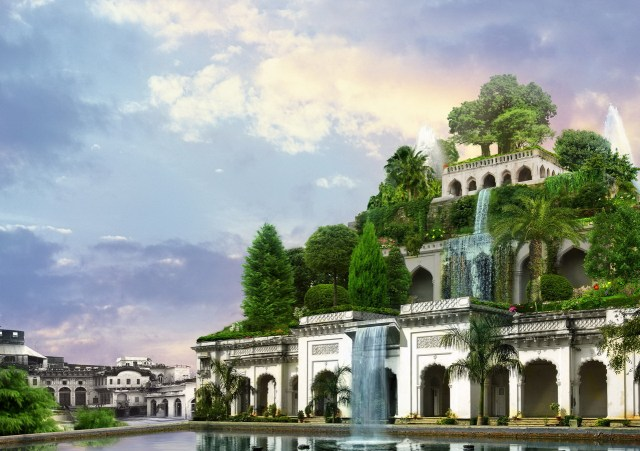 The Hanging Gardens of Babylon. Artist rendition by Sergey Likhachev (Batkya).
