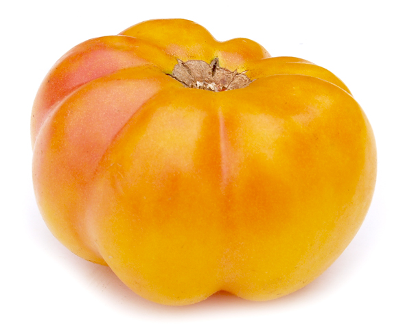 Marvel Stripe, a sweet and juicy yellow-orange beefsteak heirloom tomato.