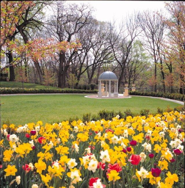 The gardens and gazebo overlooking Rock Creek Park at the Omni Shoreham Hotel in Washington, D.C.